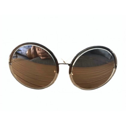 Linda Farrow oversized google sunglasses in rose gold with mirror lenses