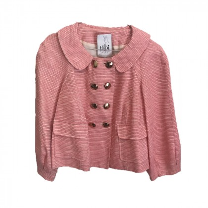 Tibi double breasted jacket in pink linen and cotton size US8 or INT M-L