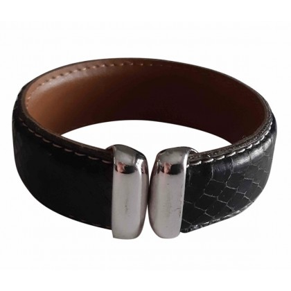 Hand made black snake skin leather bracelet with silver tone hardware
