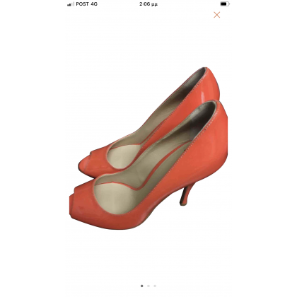 Dolce & Gabbana  orange patent leather peep toes size 37 or US7