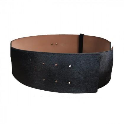 Sportmax Black pony skin leather Belt size M