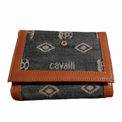 Just Cavalli leather and denim canvas wallet
