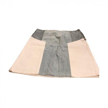 Trussardi mini leather and denim skirt