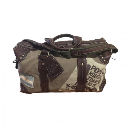La Martina travel bag in leather and canvas