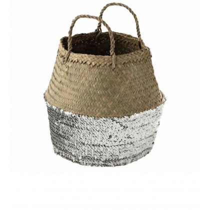 Hand made basket bag with sequins