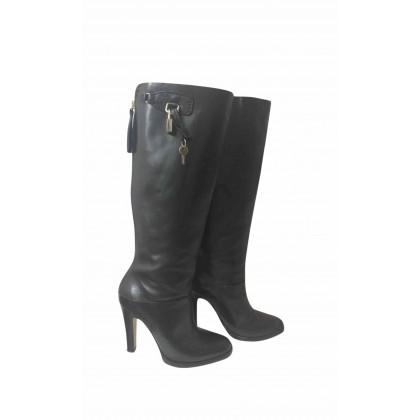 Dolce Gabbana black heeled knee height boots size 38