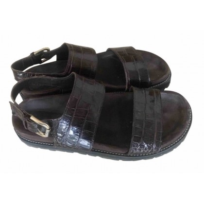 Erica Cavallini Brown croco leather flat sandals size 40