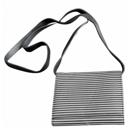 Emporio Armani leather cross body bag in black and white striped leather