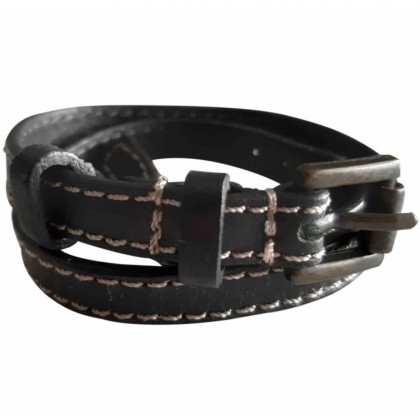 Massimo Dutti black leather bracelet