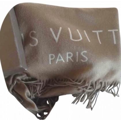 Louis Vuitton 100% cashmere fringed stole logo print
