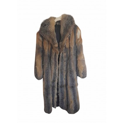 Fox fur long coat in grey and camel size M
