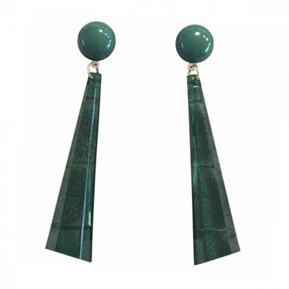 HANDMADE IMPRESSIVE EMERALD GREEN COLOR DROP EARRINGS