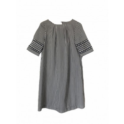 Marella dress in stripped fabric with decorative sleeves size IT42