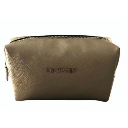 Moschino love gold metallic clutch bag