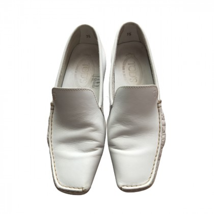 Tod's white leather loafers size IT35
