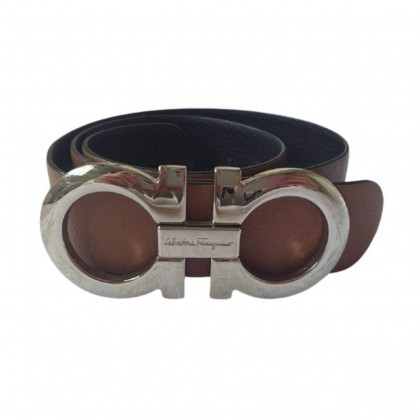 Ferragamo brown leather belt with gold tone hardware