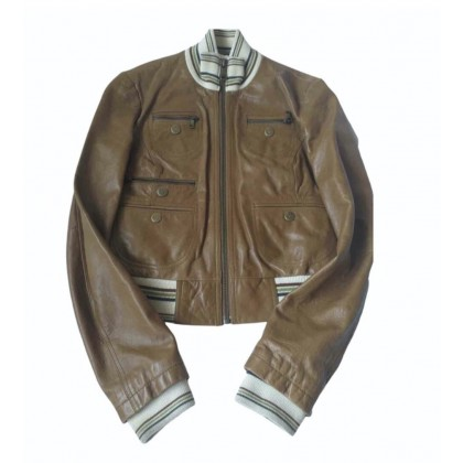Dolce & Gabbana brown leather bomber jacket size IT 44