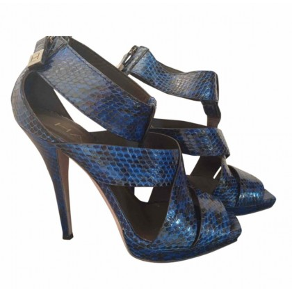 HALSTON blue exotic leather heels size 38 or US8