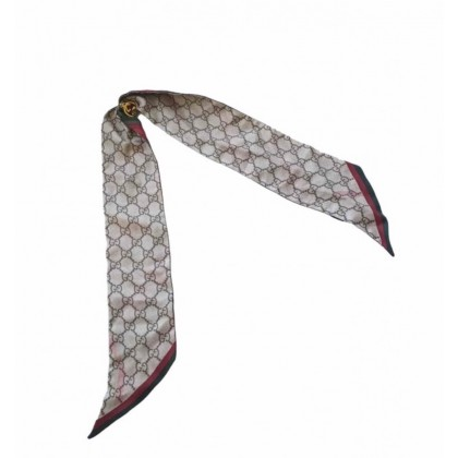 Gucci double face multicolor silk scarf with GG gold tone ring