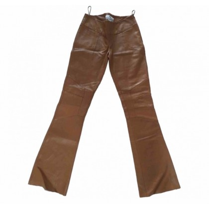 Kathy Heyndels leather flared trousers in camel leather size 1