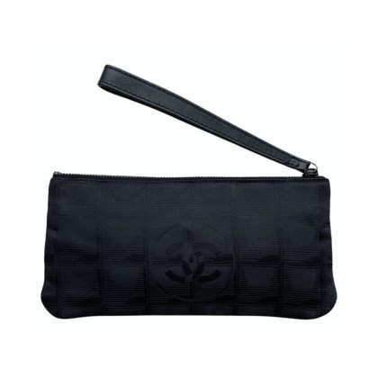 Chanel black logo print clutch bag