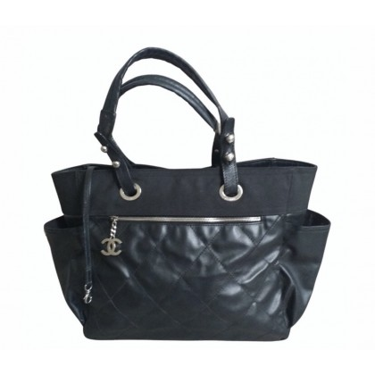 Chanel black leather and canvas tote bag Paris Biarritz model