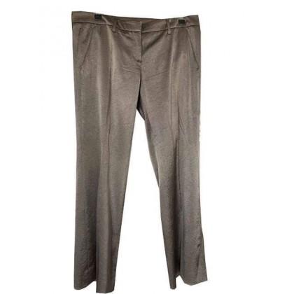 Prada beige taupe silk straight leg trousers IT 48