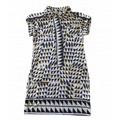 Diane Von Furstenberg mini shift dress with geometric print in 100% silk size US4
