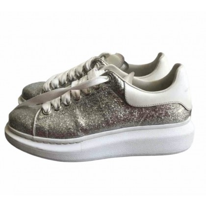 Alexander McQueen Silver Glittered Sneakers
