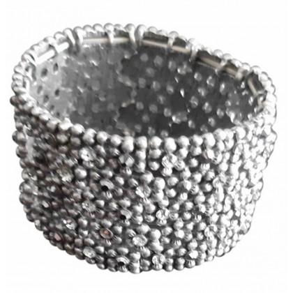 Hand made silver tone with zirconium stones cuff