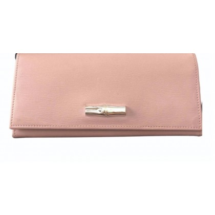 Longchamp Roseau large leather wallet in light plum color