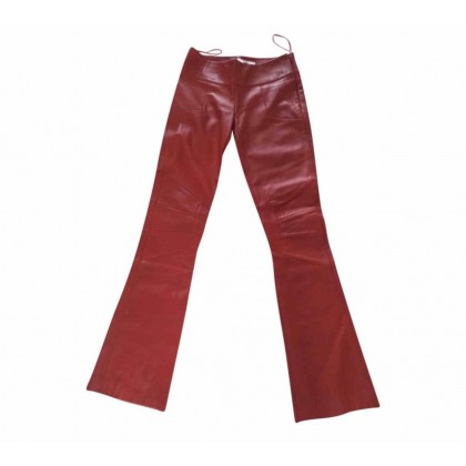 Kathy Heyndels leather flared trousers in red leather size 0