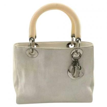 Lady Dior ecru canvas tote bag