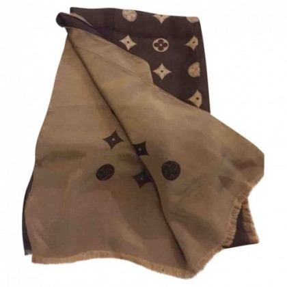 Louis Vuitton double face camel and brown silk scarf