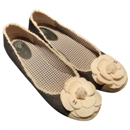 Chanel ballet flats with camelia toe size 39,5