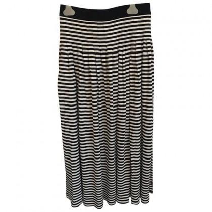 Akris Blue Black with white stripes skirt