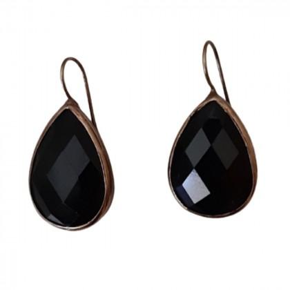 Anna Mazaraki Silver plated earrings with dark green stone