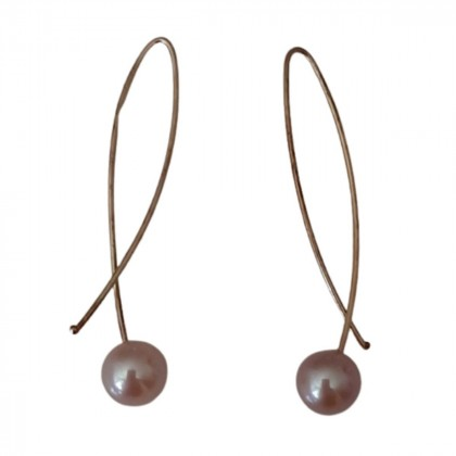 Gold earrings with grey/pink pearls