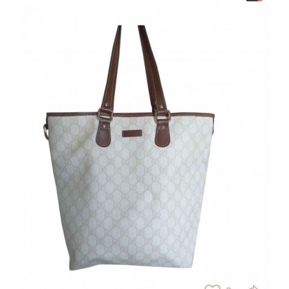 Gucci Tote Bag in beige logo print and brown leather details