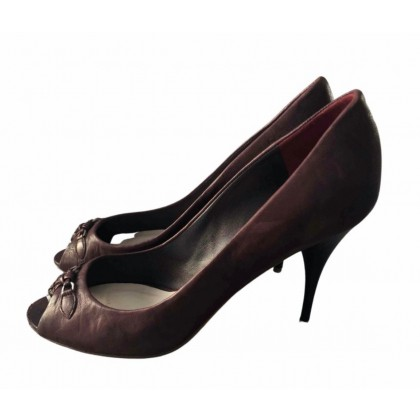 Dior peep toes with CD metal part on the front in brown leather size IT38