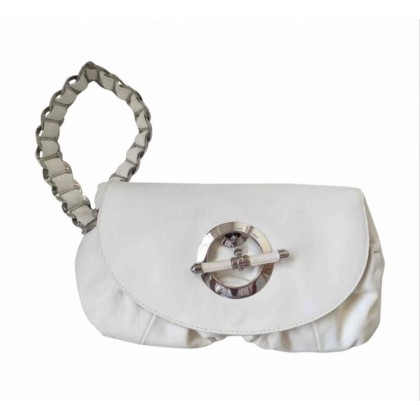 Dior white leather clutch bag with wrist handle