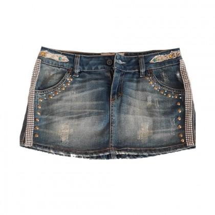 Rossodisera mini skirt with decorative trucks and stones size IT 42