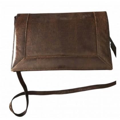 Lizard leather brown vintage  handbag with detachable strap