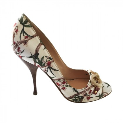 Casadei Peeptoes in floral silky design with bambo detail