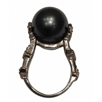 Silver ring with black pearl and zirconium size 56