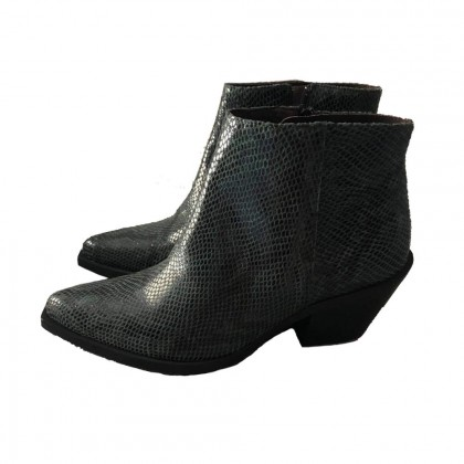 Western style ankle boots in forest green leather size39 brand new