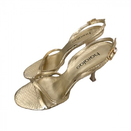 Haralas gold metallic leather sandals size 38