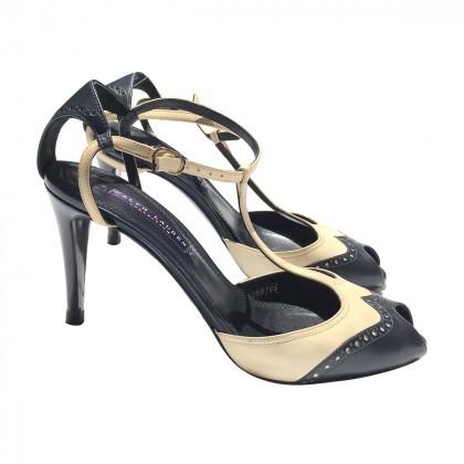 Ralph Lauren Collection Cream Navy Blue  Sandals