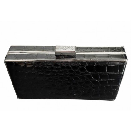 Hand made box style clutch croco print black leather