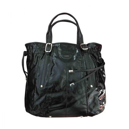 TOD'S large black patent leather tote bag